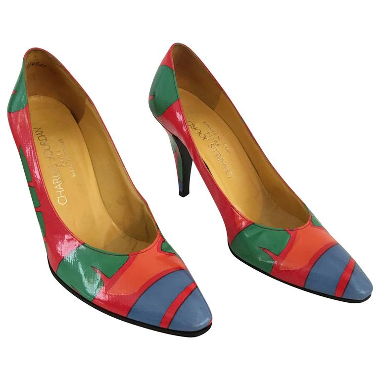 Charles Jourdan 80s Tropical Leather Pumps Size 7.5 For ...