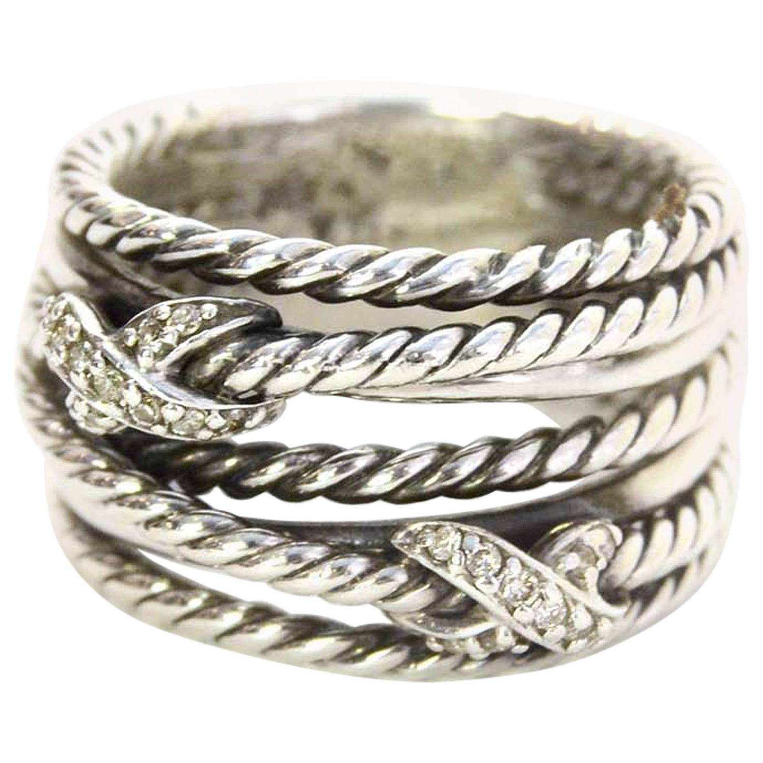 David Yurman Sterling And Diamond Double X Crossover Ring