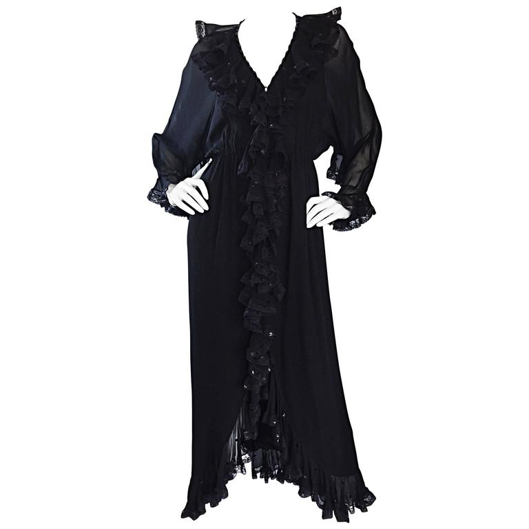Incredible Vintage Bill Blass Black Silk Chiffon Ruffled Sequin Boho 70s Dress For Sale