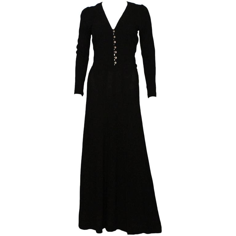 Ossie Clark Black Moss Crepe Maxi Dress, 1970s  For Sale