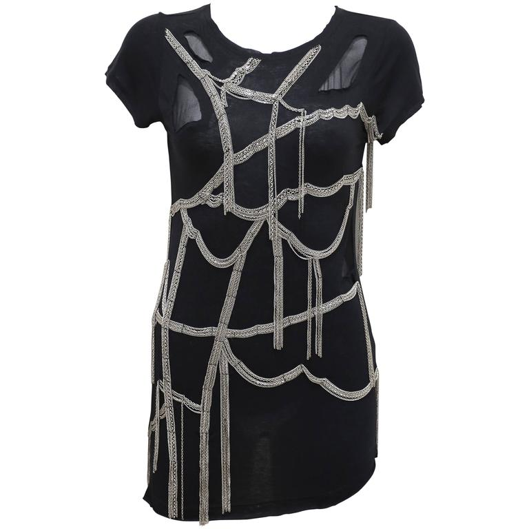 Black jersey chain-mail micro mini dress, c. 1990s