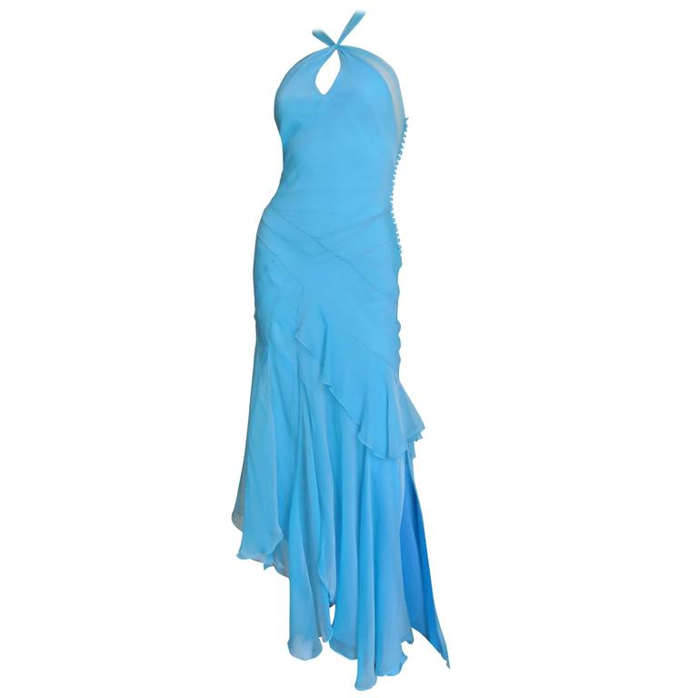Christian Dior Blue Silk Seamed Halter Gown For Sale