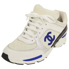 Chanel White & Blue Leather & Suede CC Sneakers SZ 40