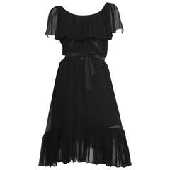 Scott Barrie Black Chiffon Ruffled Sheer Dress Size 4.