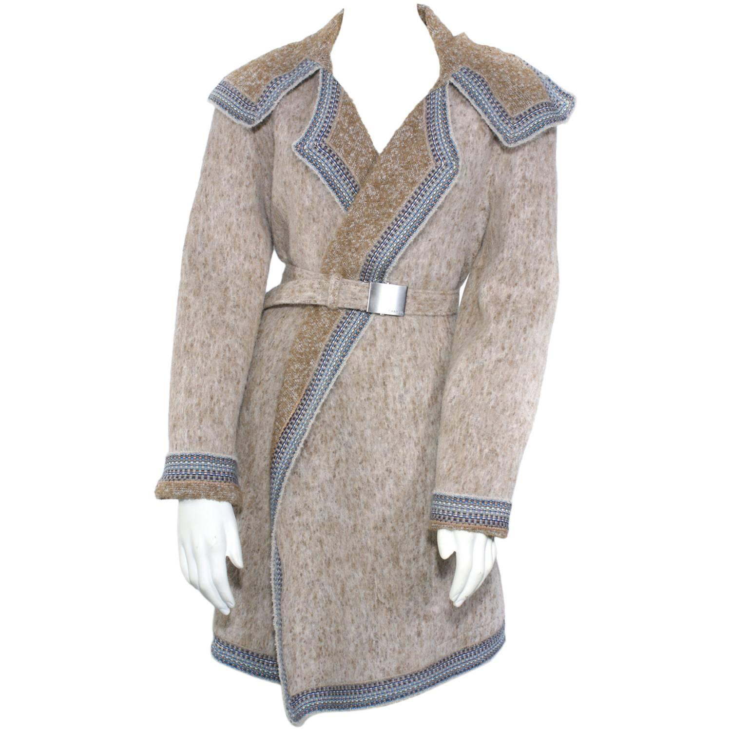 Chanel Tan Knit Belted Coat With Scarf at 1stdibs