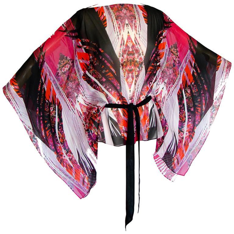Roberto Cavalli Sheer Silk Blouse Kimono Kaftan Cape Bold Colorful Print M