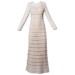 1970s Bergdorf Goodman Vintage Crochet Nude Illusion Maxi Dress