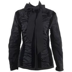 YSL Yves Saint Laurent Black Ruched Velvet Trim Tie Jacket SZ 42