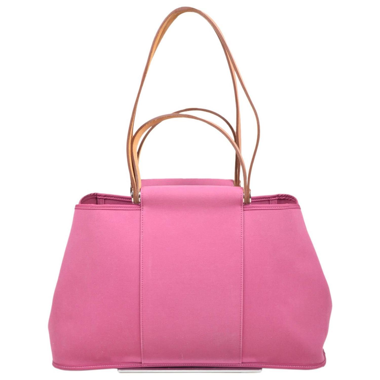 hermes handbags - Hermes Pink Canvas \u0026quot;Cabas Elan\u0026quot; Top Leather Handle Shoulder Tote ...