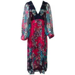 Fuchsia/Navy Silk Chiffon Print Dress