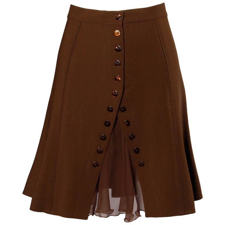 Blumarine Brown Wool + Silk Button Up Skirt