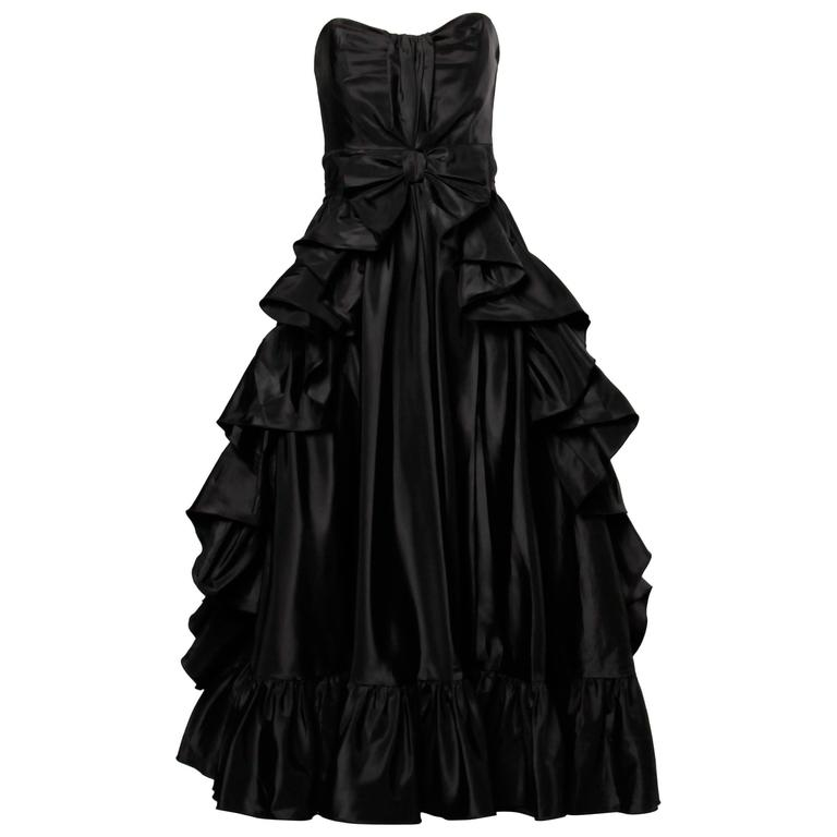 Jean Varon Vintage Strapless Black Taffeta Evening Dress with Ruffles and Bow For Sale