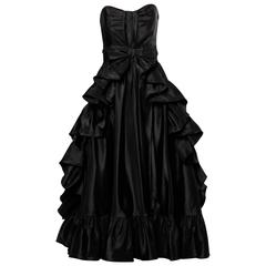 Jean Varon Vintage Strapless Black Taffeta Evening Dress with Ruffles and Bow