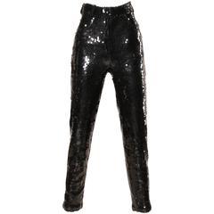 1985 Jeanette Kastenberg for St. Martin Vintage Black Sequin Disco Pants