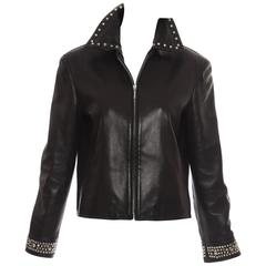 Gianni Versace Black Leather Jacket With Stud Details, Circa 1990's