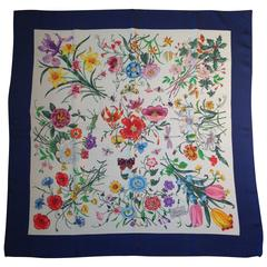 1980s Gucci Silk Floral Scarf with Original Price Tag And Navy Border