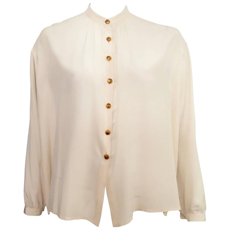 Yves Saint Laurent 90s Silk Blouse Size 6. 1