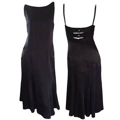 Chanel Black Silk 20s Inspired Cage Back Flowy Dress by Karl Lagerfeld