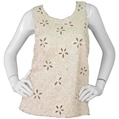 Chanel Ivory Cut out Floral Sequin Sleeveless Top sz 44 rt. $3,000+