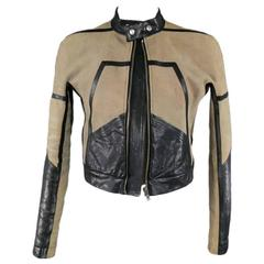 RICK OWENS 42 Taupe & Black Distressed Suede & Leather Motorcycle Jacket