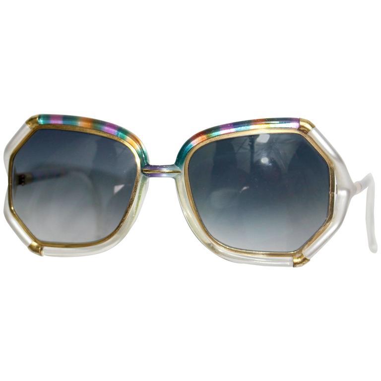 1970s Ted Lapidus Rainbow Frame Sunglasses & Shades For Sale