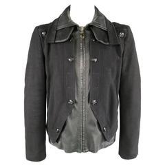 VERSACE 42 Black Wool & Leather Button Collar Zip Jacket