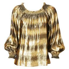 Yves Saint Laurent Gold Lame Gypsy Blouse