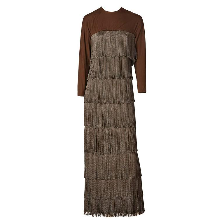 Matte Jersey Fringed Gown