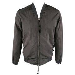 Damir Doma Silent Black Crepe Poly Bomber Jacket, Size 38