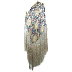 Liberty of London Printed Chiffon and Devore Velvet Shawl