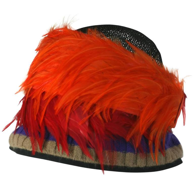 Prada Spring 2005, Exotic Feather Cloche Hat For Sale