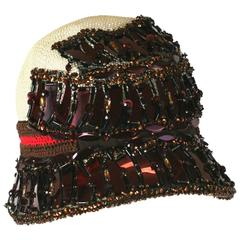 Prada Collectors Elaborate Beaded and Aplique Cloche Hat, Spring 2005