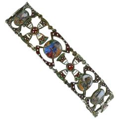 Egyptian Revival Enamel Link Bracelet