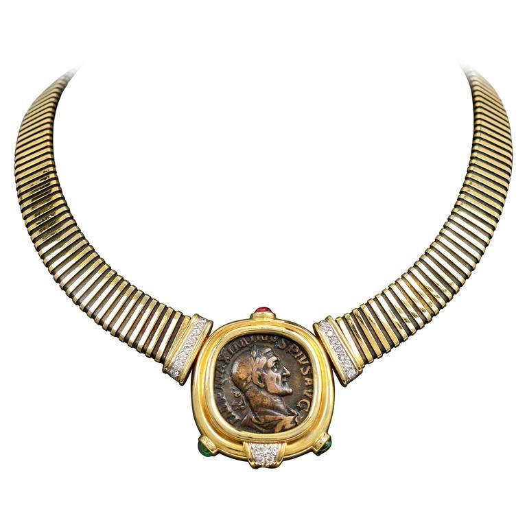 Bulgari Monete Ruby Emerald Diamond Gold Coin Tubogas Necklace  1