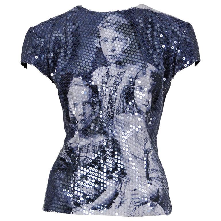 McQueen Romanov Print Sequin Top 1998 AW  For Sale