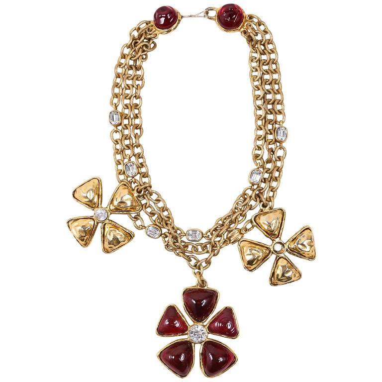 Chanel Gold Tone Red Multi Strand Chain Stone Embellished Flower Necklac 1