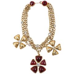 Chanel Gold Tone Red Multi Strand Chain Stone Embellished Flower Necklac