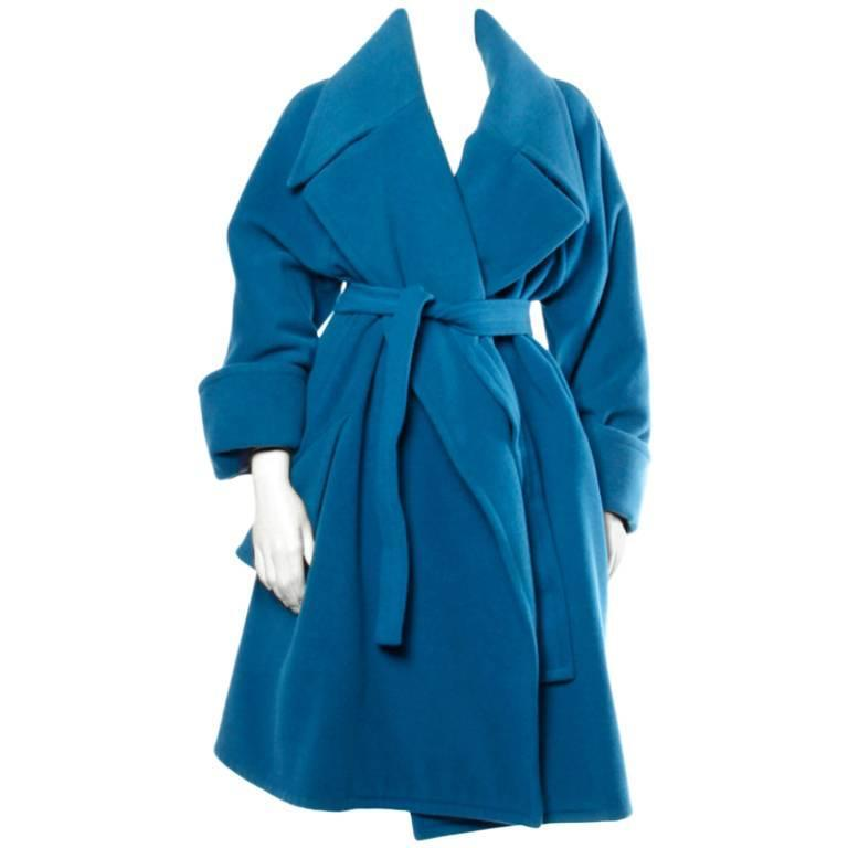 1990s Karl Lagerfeld Vintage Teal Blue Soft Angora Wool + Alpaca Trench Coat