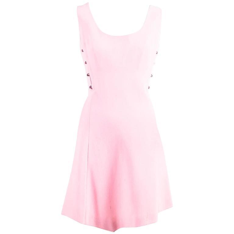 Vintage Gianni Versace Light Pink Crepe Knit Studded Sleeveless A Line Dress 1