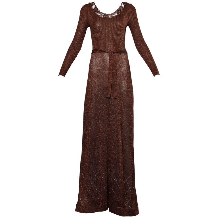 1970s Wenjilli Vintage Slinky Bronze Metallic Knit Maxi Dress with Crochet Trim For Sale