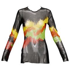 Jean Paul Gaultier Mesh Abstract Print Long Sleeve Sheer Top or Shirt
