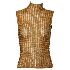 Krizia Maglia 1990s Metallic Gold Beaded Knit Turtle Neck Sweater Top