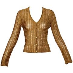 Krizia Maglia 1990s Metallic Gold Beaded Cardigan Sweater Top
