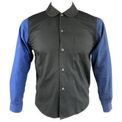 COMME des GARCONS Men's Size M Black & Blue Contrast Cotton Long Sleeve Shirt