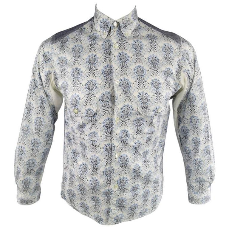 COMME des GARCONS Men's Size S Printed Patchwork Cotton Long Sleeve Shirt For Sale