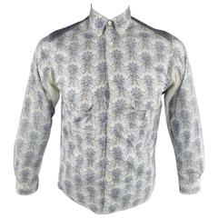 COMME des GARCONS Men's Size S Printed Patchwork Cotton Long Sleeve Shirt