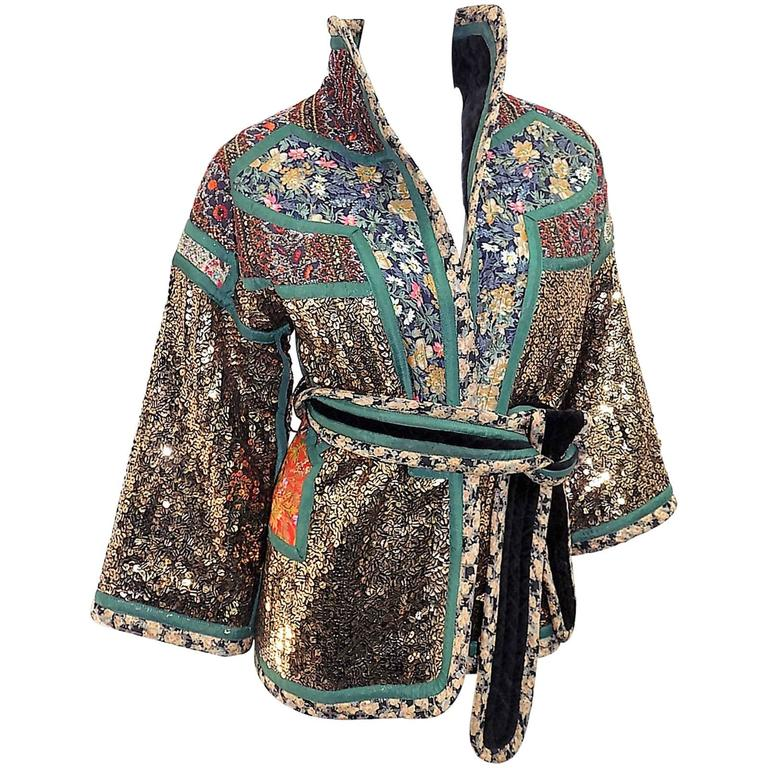 Koos Van Den Akker rare evening sequin gold brocade smoking jacket coat 1