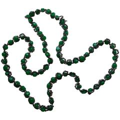 1970's William deLillo Faux Jade and Hematite Seed Bead Necklace