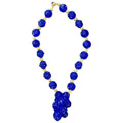 1970s William deLillo Amazing Electric Blue Resin Grape Cluster Necklace