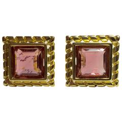 1980s GIVENCHY Square Faceted Pink Crystal Clip Earrings